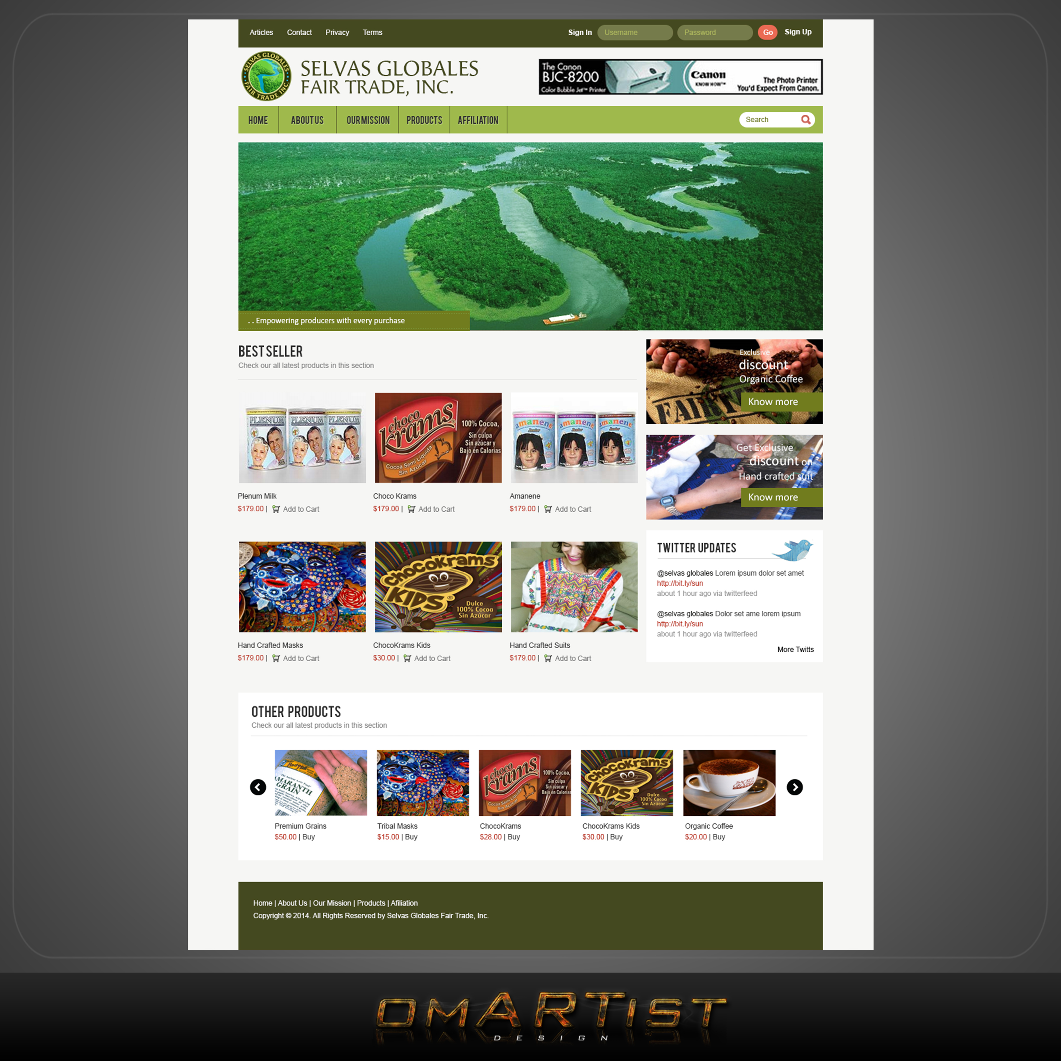 Web Page Design by omARTist - Entry No. 2 in the Web Page Design Contest Inspiring Web Page Design for Selvas Globales Fair Trade Inc..