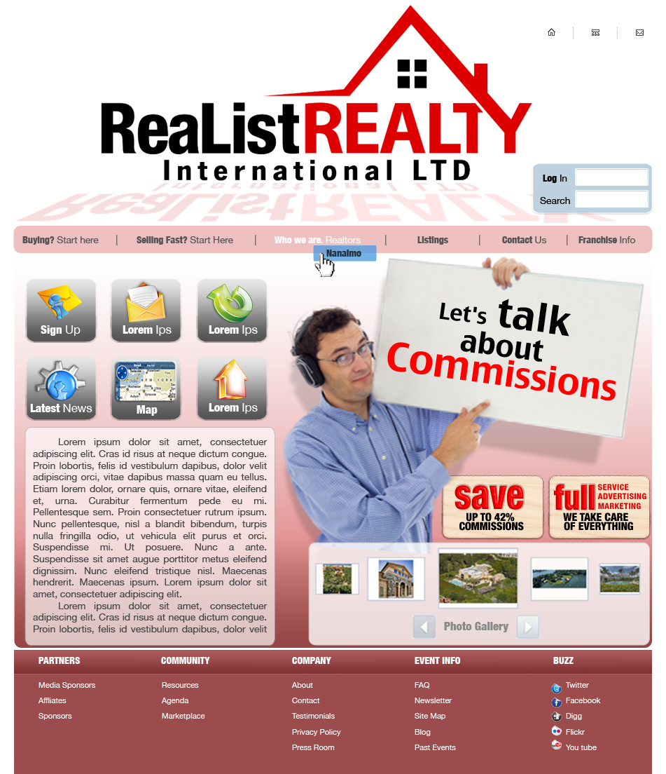 Web Page Design by garygeorgec - Entry No. 108 in the Web Page Design Contest Realist Realty International Ltd..