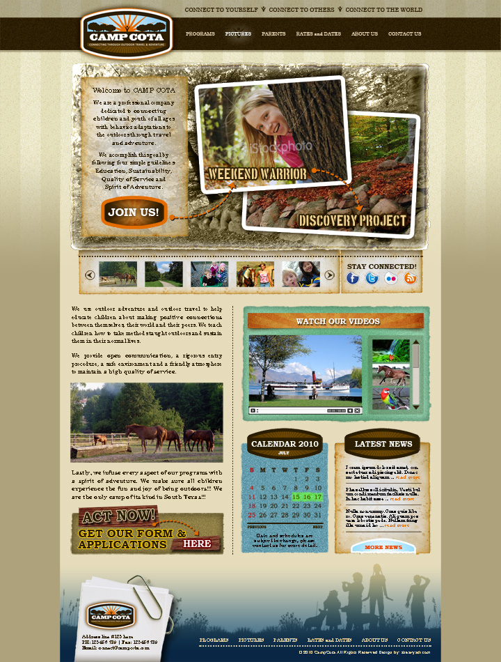 Web Page Design by shearyadi - Entry No. 70 in the Web Page Design Contest Camp COTA - Clean, Crisp Design Needed.