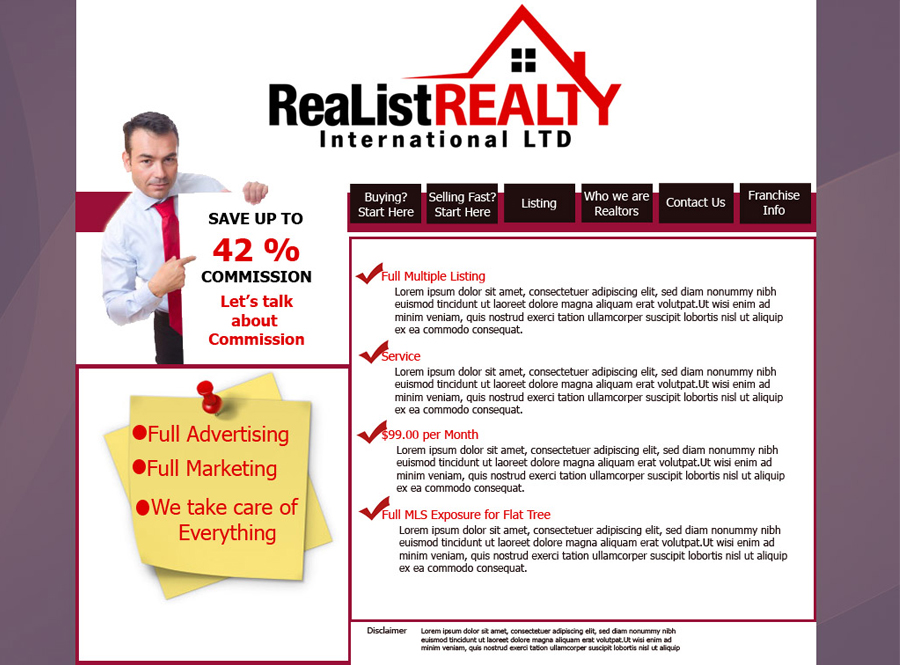 Web Page Design by garygeorgec - Entry No. 109 in the Web Page Design Contest Realist Realty International Ltd..