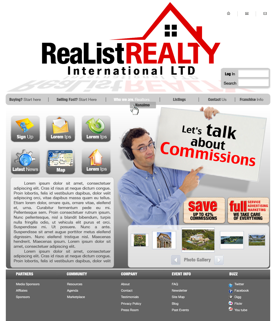 Web Page Design by garygeorgec - Entry No. 110 in the Web Page Design Contest Realist Realty International Ltd..