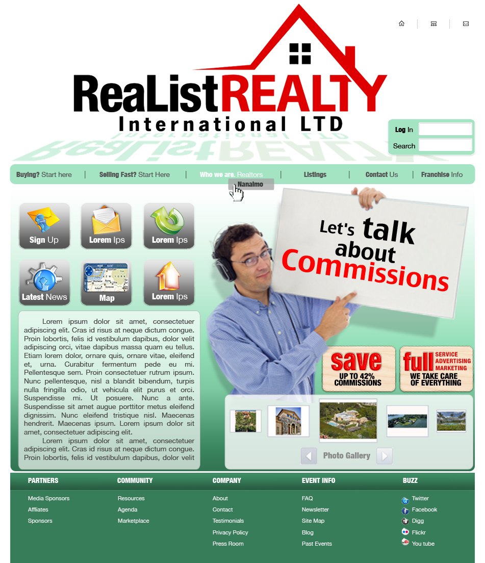Web Page Design by garygeorgec - Entry No. 111 in the Web Page Design Contest Realist Realty International Ltd..