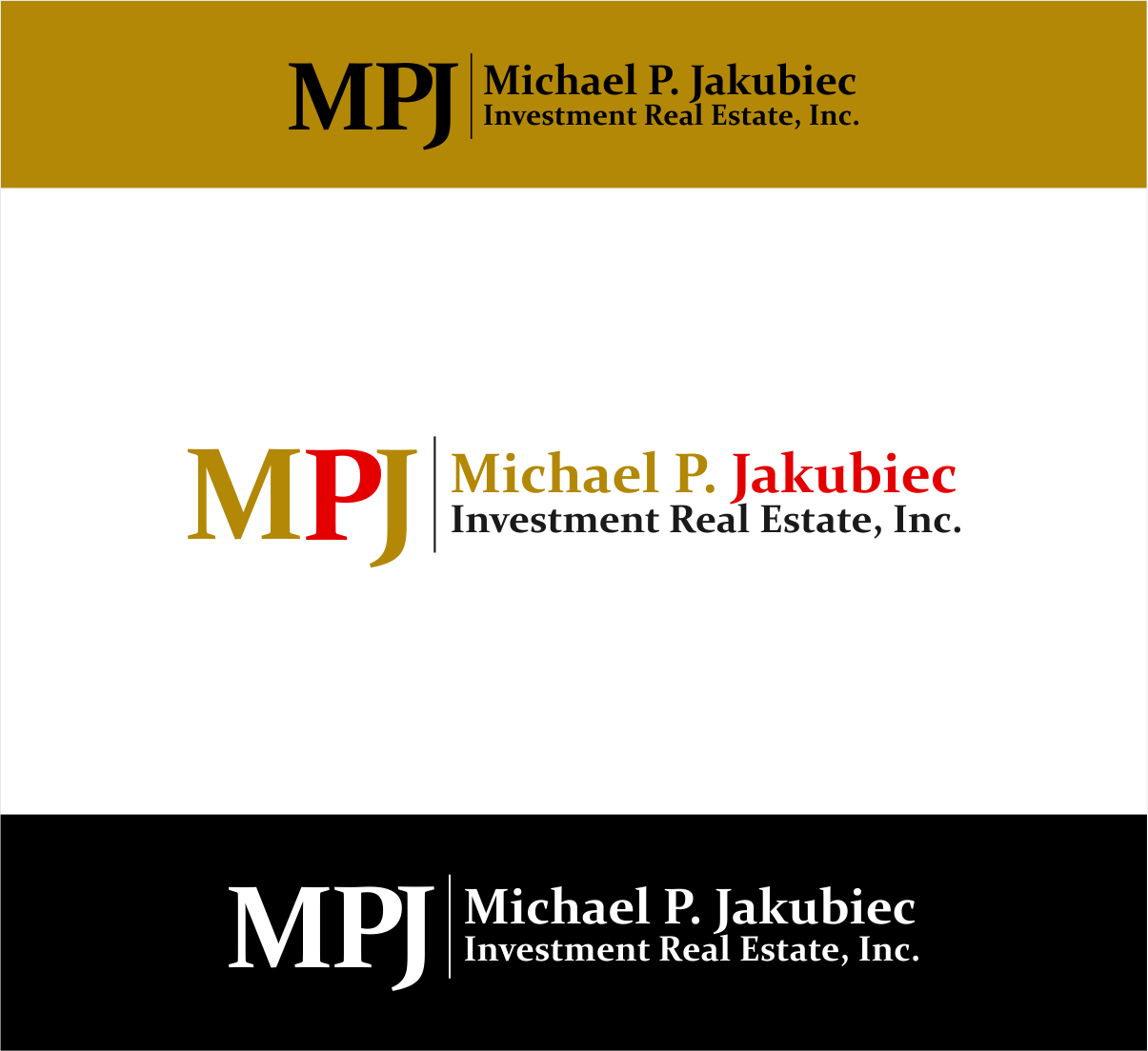 Logo Design by haidu - Entry No. 22 in the Logo Design Contest New Logo Design for Michael P. Jakubiec Investment Real Estate, Inc..