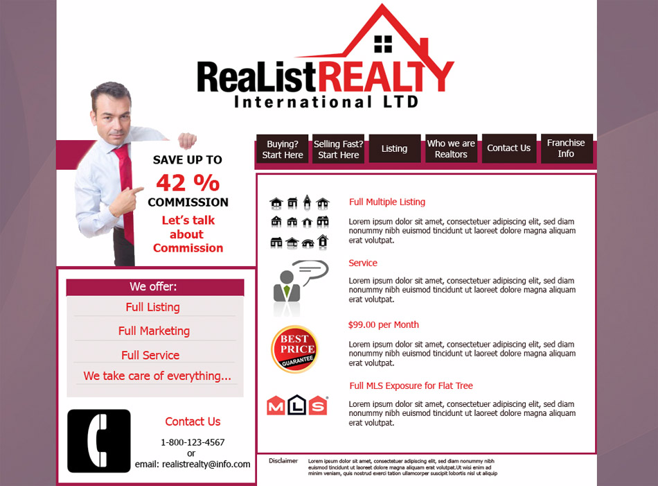 Web Page Design by garygeorgec - Entry No. 116 in the Web Page Design Contest Realist Realty International Ltd..