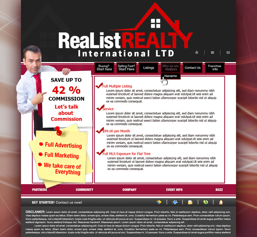 Web Page Design by garygeorgec - Entry No. 118 in the Web Page Design Contest Realist Realty International Ltd..