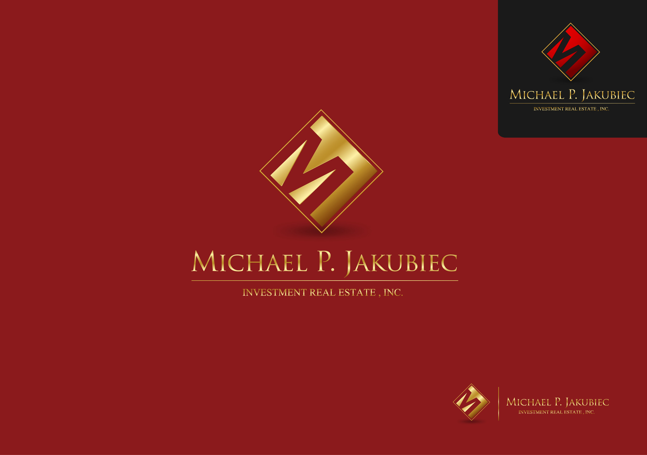 Logo Design by Mark Anthony Moreto Jordan - Entry No. 69 in the Logo Design Contest New Logo Design for Michael P. Jakubiec Investment Real Estate, Inc..