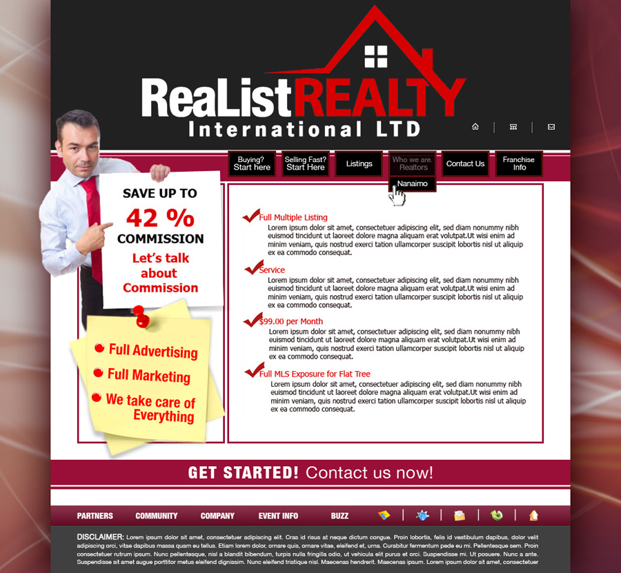 Web Page Design by garygeorgec - Entry No. 119 in the Web Page Design Contest Realist Realty International Ltd..