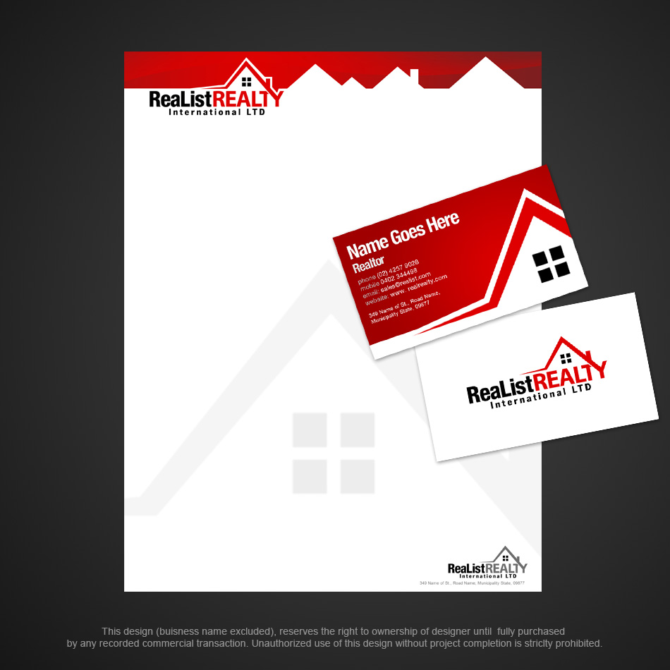 Business Card Design by pinoybasket - Entry No. 4 in the Business Card Design Contest Realist Realty International - Stationary.