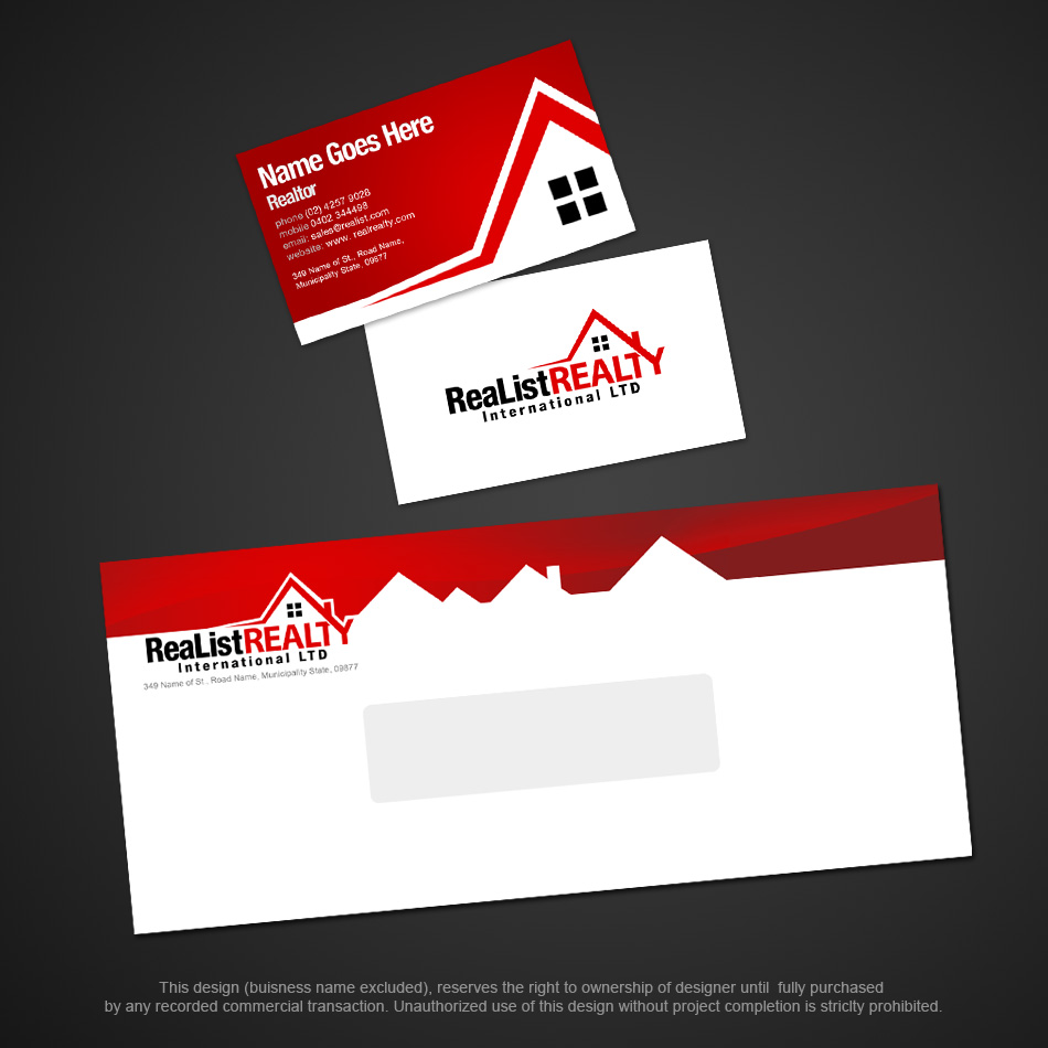 Business Card Design Contests Realist Realty International - Real estate business card template