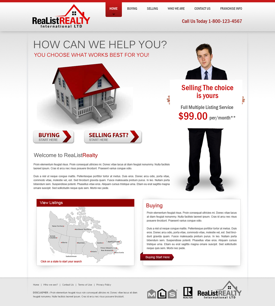 Web Page Design by Emad A Zyed - Entry No. 124 in the Web Page Design Contest Realist Realty International Ltd..