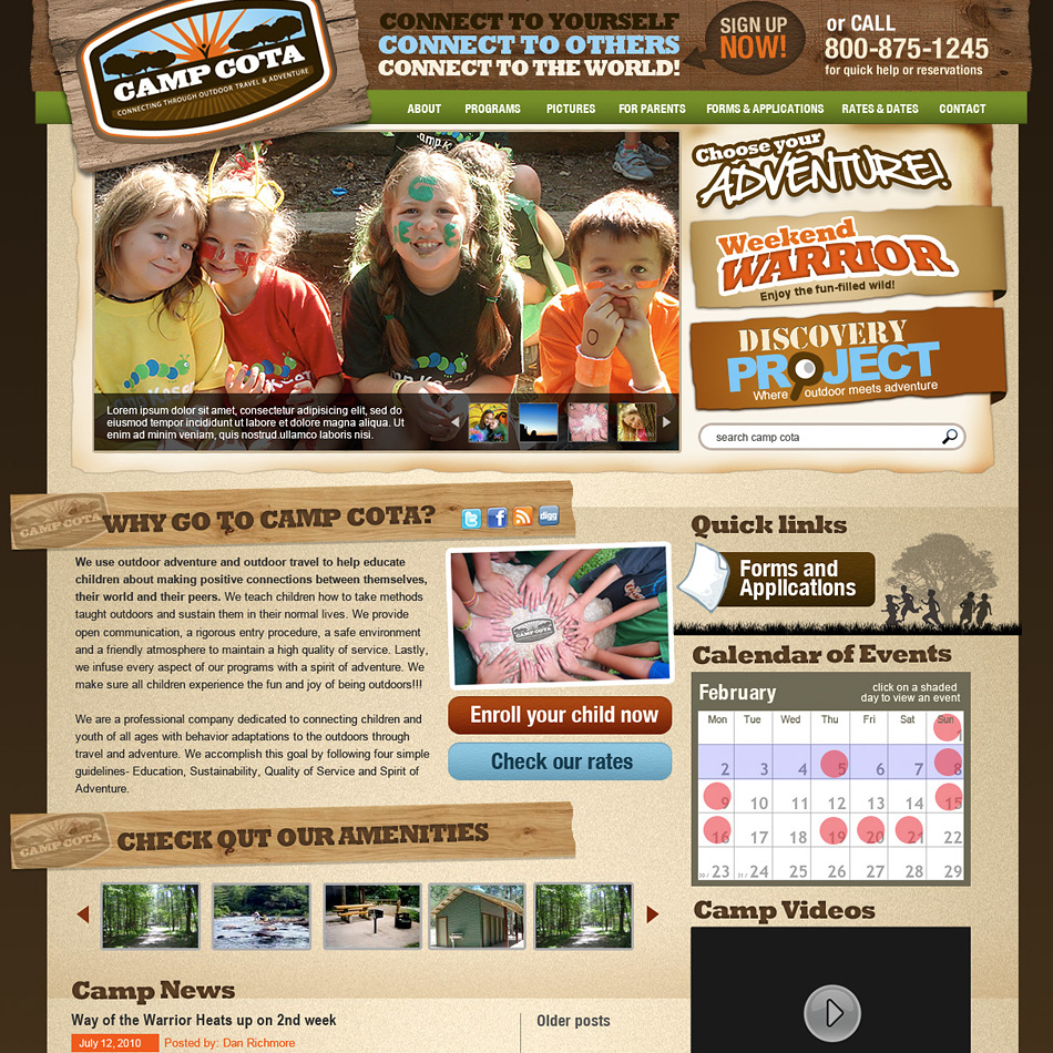 Web Page Design by pinoybasket - Entry No. 74 in the Web Page Design Contest Camp COTA - Clean, Crisp Design Needed.