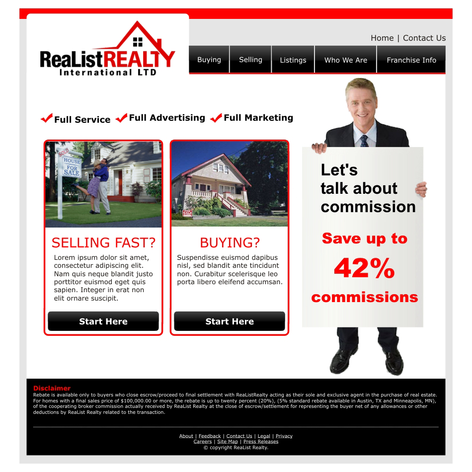 Web Page Design by aspstudio - Entry No. 129 in the Web Page Design Contest Realist Realty International Ltd..