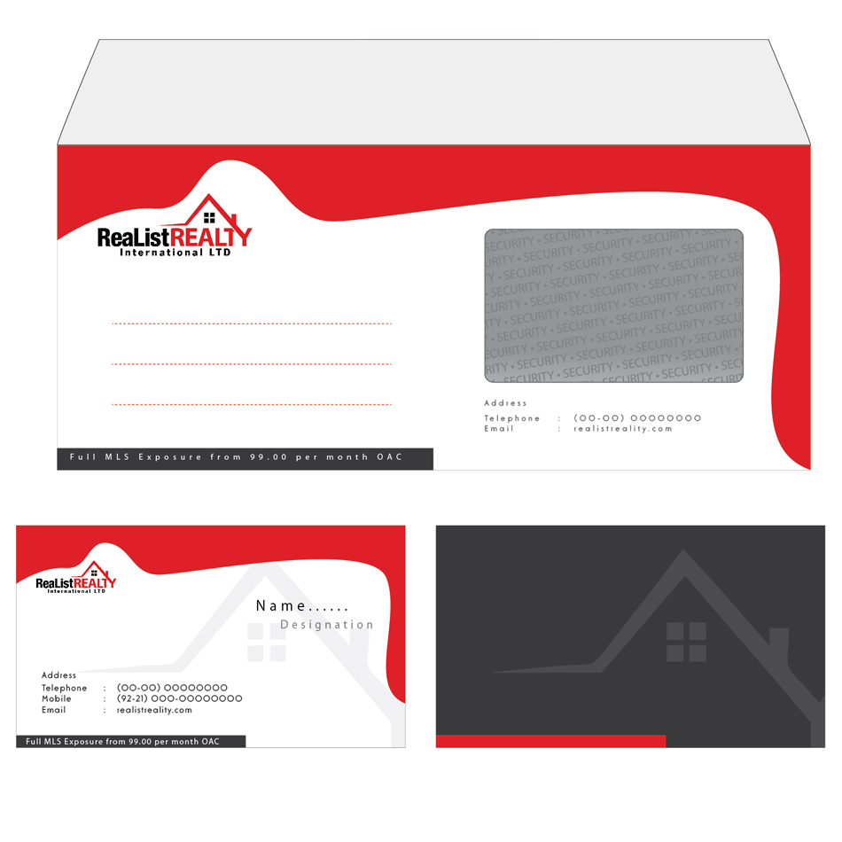 Business Card Design by aesthetic-art - Entry No. 10 in the Business Card Design Contest Realist Realty International - Stationary.