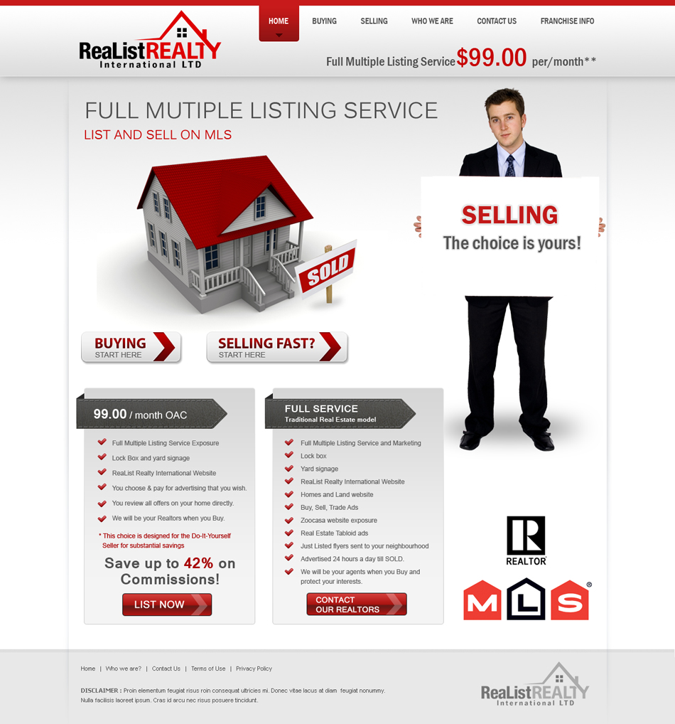 Web Page Design by Emad A Zyed - Entry No. 132 in the Web Page Design Contest Realist Realty International Ltd..