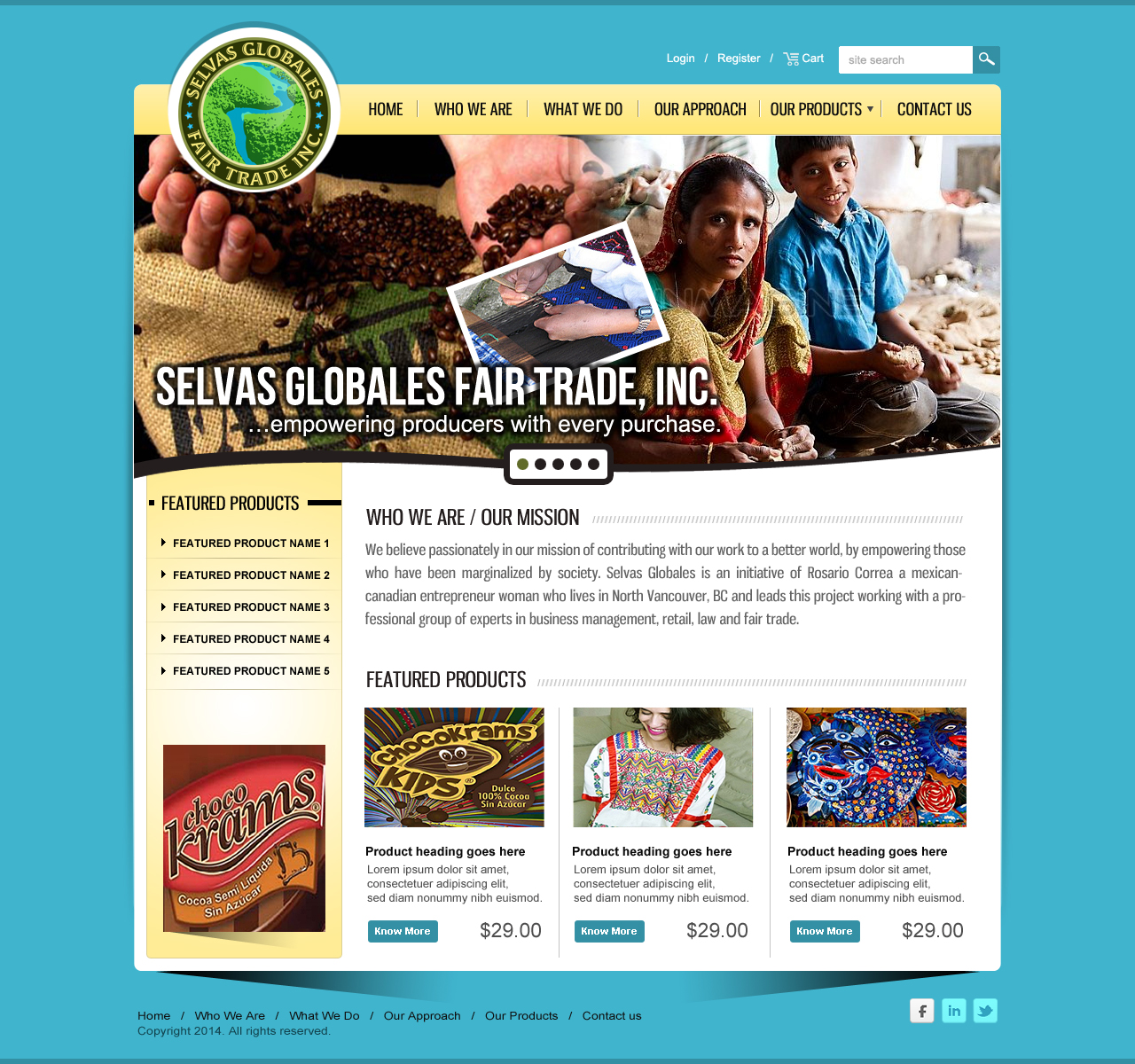 Web Page Design by webexprtz - Entry No. 6 in the Web Page Design Contest Inspiring Web Page Design for Selvas Globales Fair Trade Inc..