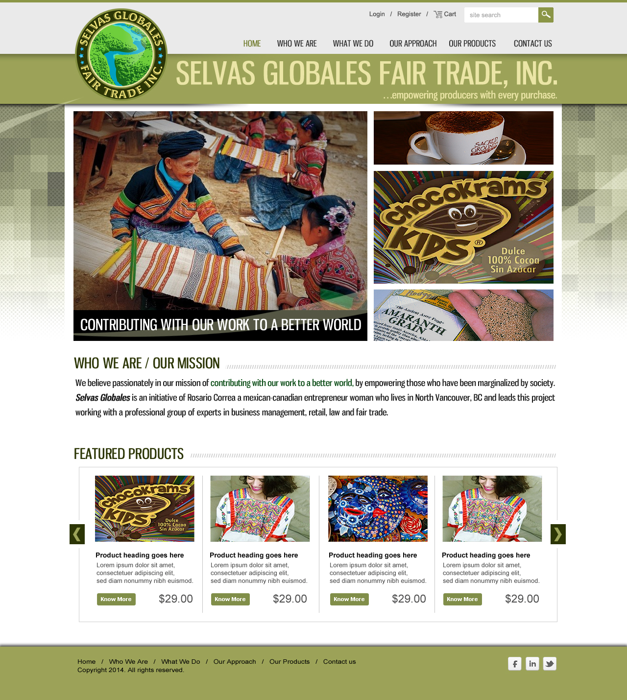 Web Page Design by webexprtz - Entry No. 7 in the Web Page Design Contest Inspiring Web Page Design for Selvas Globales Fair Trade Inc..