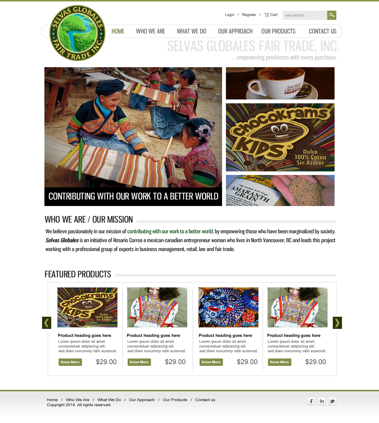 Web Page Design by webexprtz - Entry No. 8 in the Web Page Design Contest Inspiring Web Page Design for Selvas Globales Fair Trade Inc..
