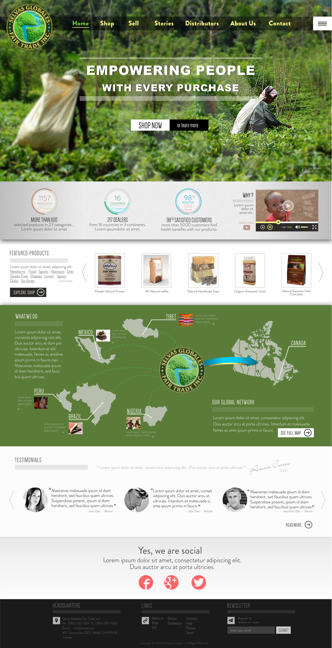 Web Page Design by Q_Division_Designs - Entry No. 11 in the Web Page Design Contest Inspiring Web Page Design for Selvas Globales Fair Trade Inc..