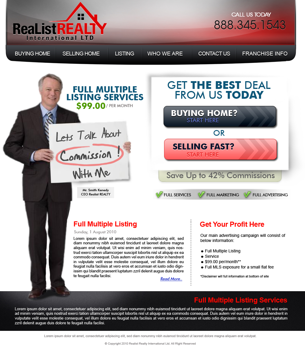 Web Page Design by myrvelous - Entry No. 143 in the Web Page Design Contest Realist Realty International Ltd..
