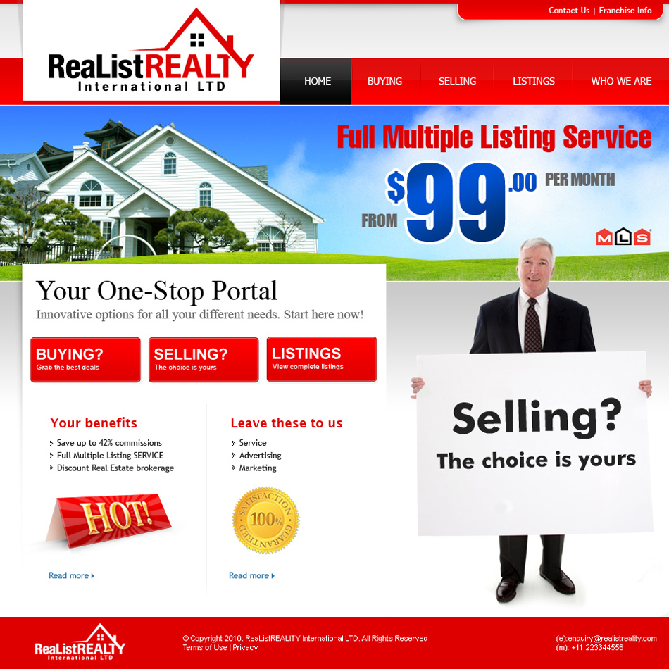 Web Page Design by tianstudio - Entry No. 158 in the Web Page Design Contest Realist Realty International Ltd..
