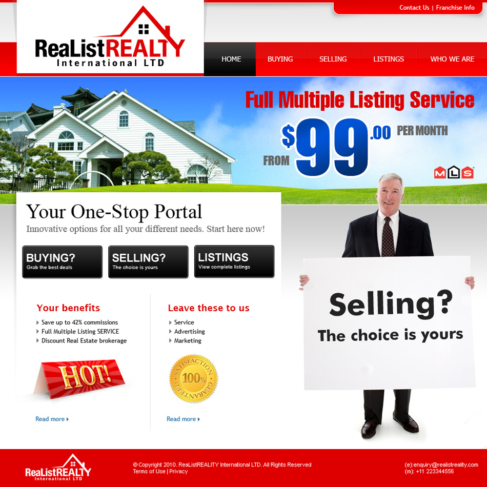 Web Page Design by tianstudio - Entry No. 159 in the Web Page Design Contest Realist Realty International Ltd..