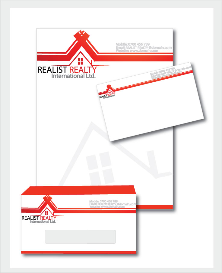 Business Card Design by logoshiner1 - Entry No. 27 in the Business Card Design Contest Realist Realty International - Stationary.