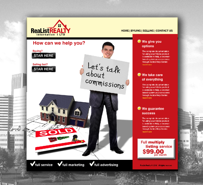 Web Page Design by limix - Entry No. 164 in the Web Page Design Contest Realist Realty International Ltd..