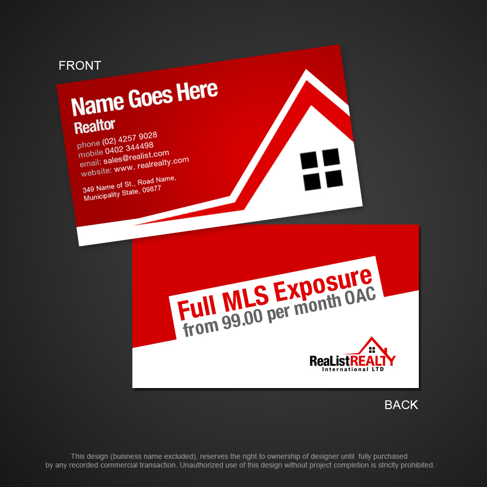 Business Card Design Contests » Realist Realty International ...