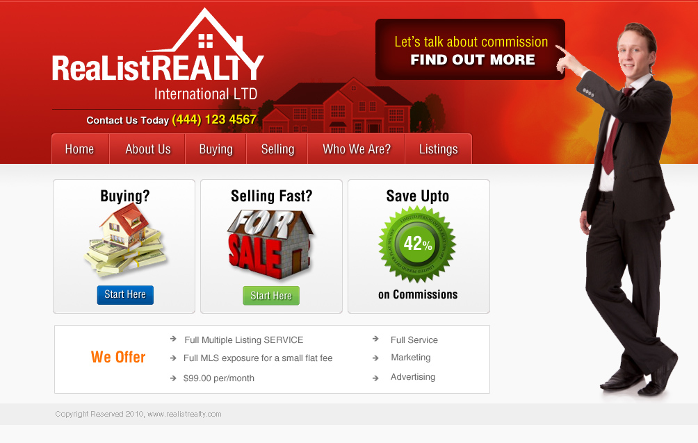 Web Page Design by Vilkaa - Entry No. 165 in the Web Page Design Contest Realist Realty International Ltd..