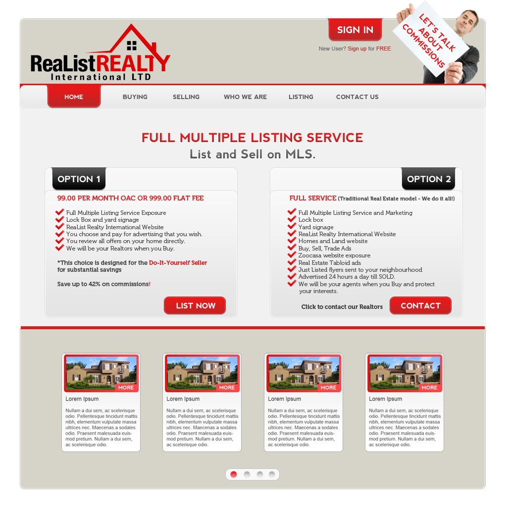 Web Page Design by Oskart - Entry No. 166 in the Web Page Design Contest Realist Realty International Ltd..