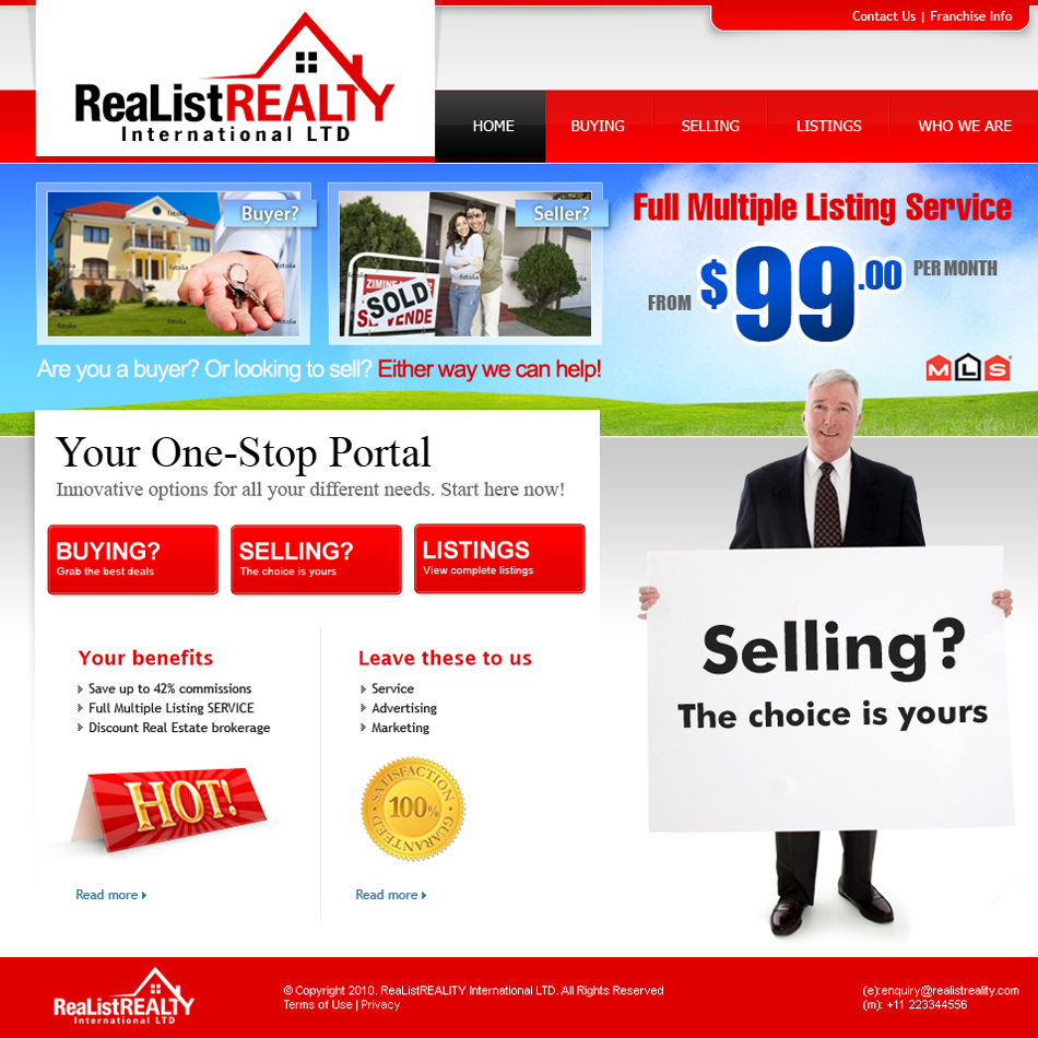Web Page Design by tianstudio - Entry No. 169 in the Web Page Design Contest Realist Realty International Ltd..