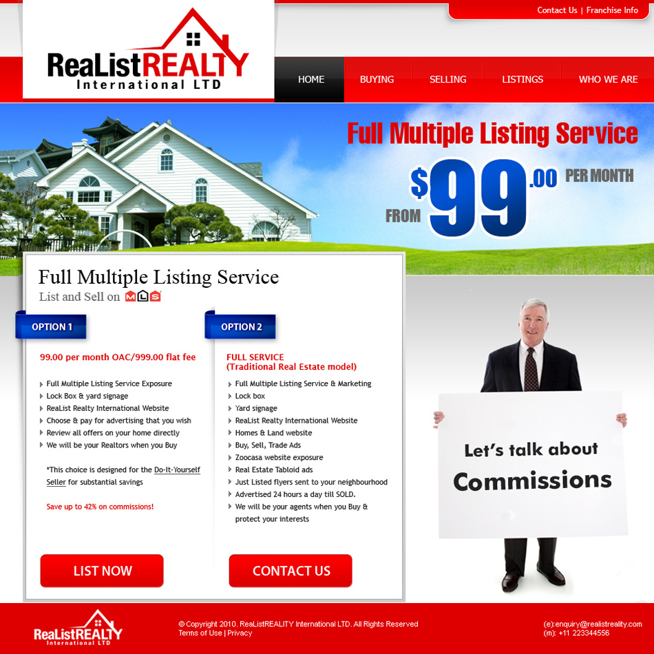 Web Page Design by tianstudio - Entry No. 170 in the Web Page Design Contest Realist Realty International Ltd..