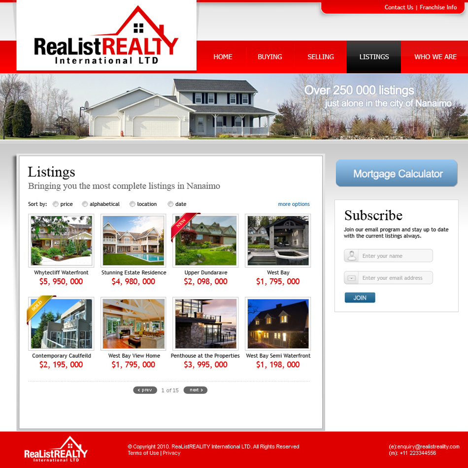 Web Page Design by tianstudio - Entry No. 171 in the Web Page Design Contest Realist Realty International Ltd..