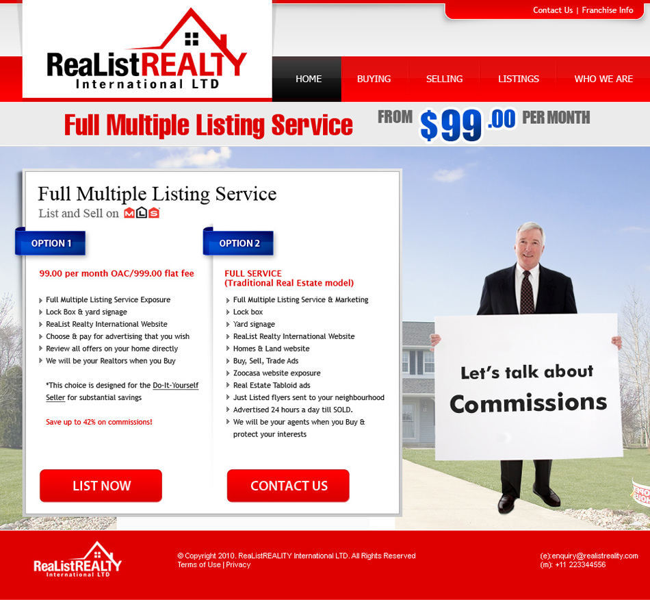 Web Page Design by tianstudio - Entry No. 172 in the Web Page Design Contest Realist Realty International Ltd..