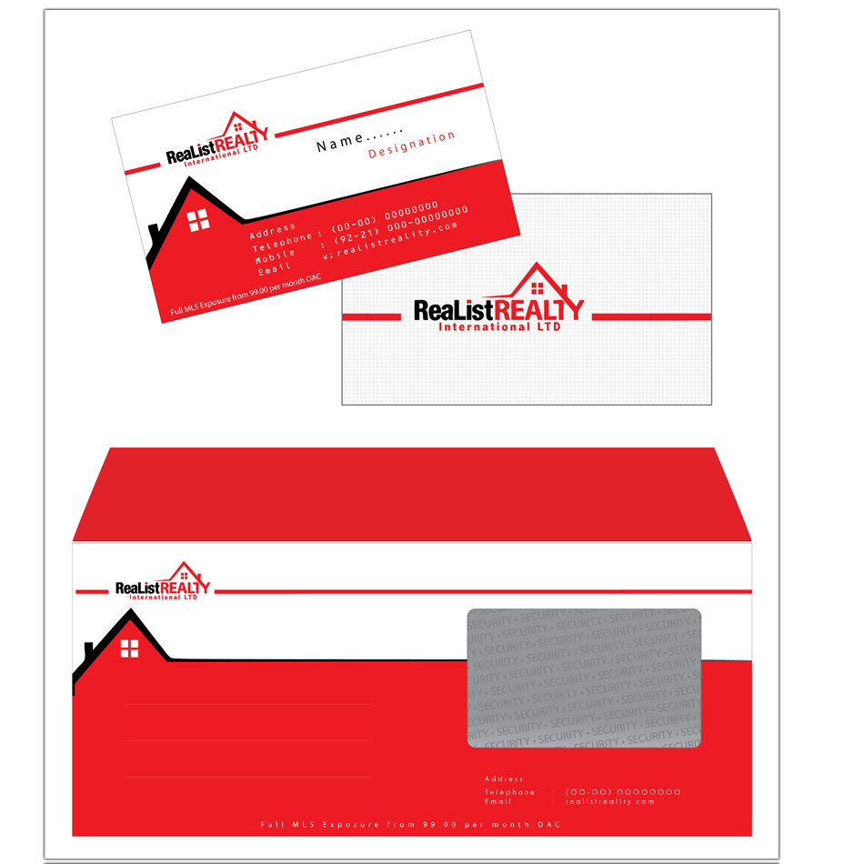 Business Card Design by aesthetic-art - Entry No. 34 in the Business Card Design Contest Realist Realty International - Stationary.
