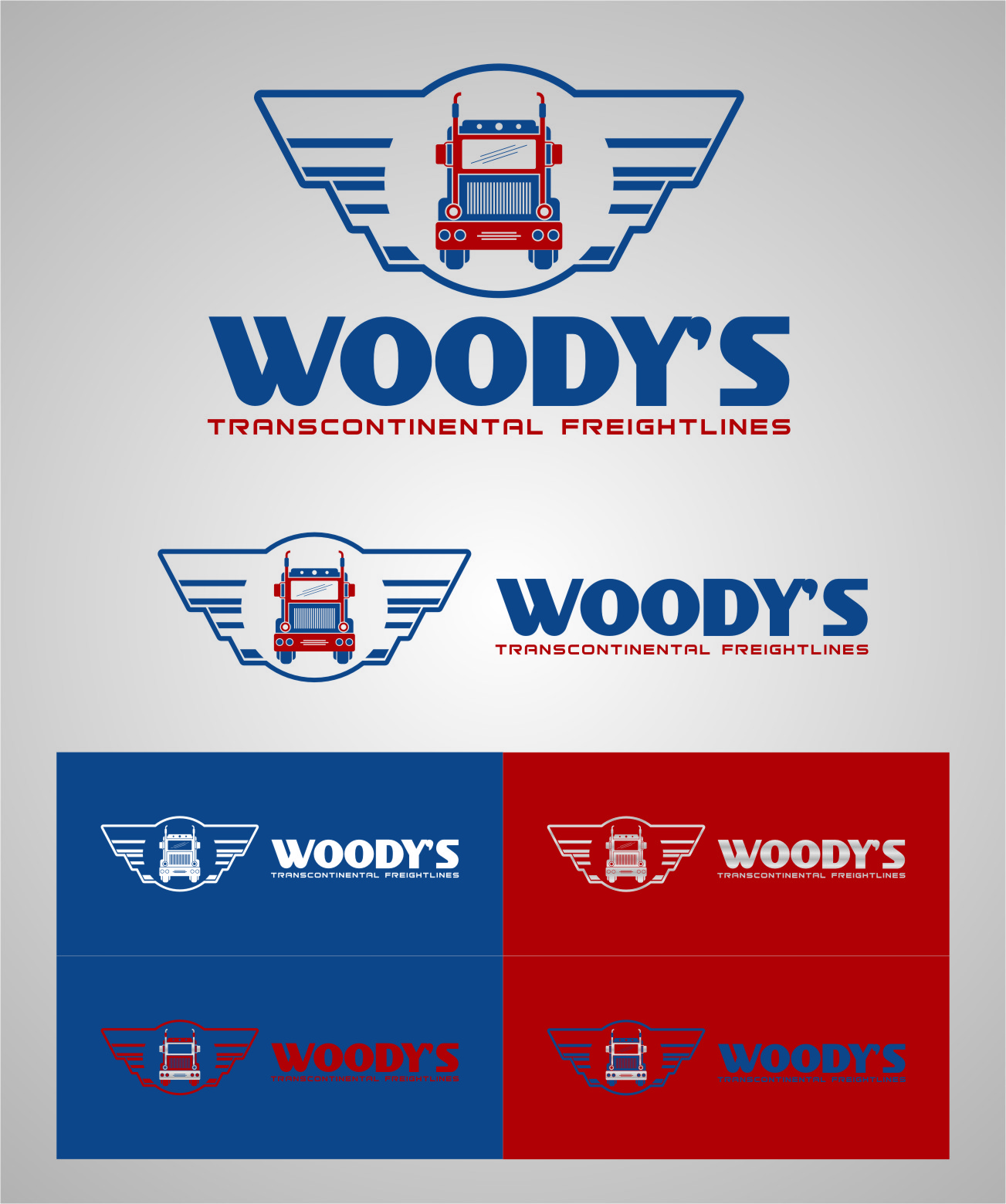 Logo Design by RasYa Muhammad Athaya - Entry No. 71 in the Logo Design Contest Creative Logo Design for Woody's Transcontinental Freightlines.