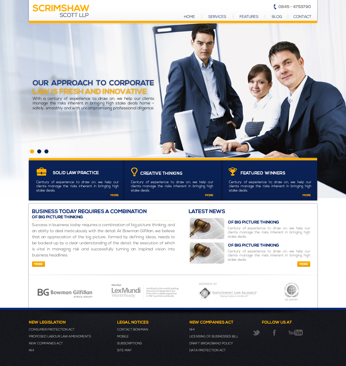 Web Page Design by webexprtz - Entry No. 2 in the Web Page Design Contest Captivating Web Page Design for Scrimshaw Scott LLP.