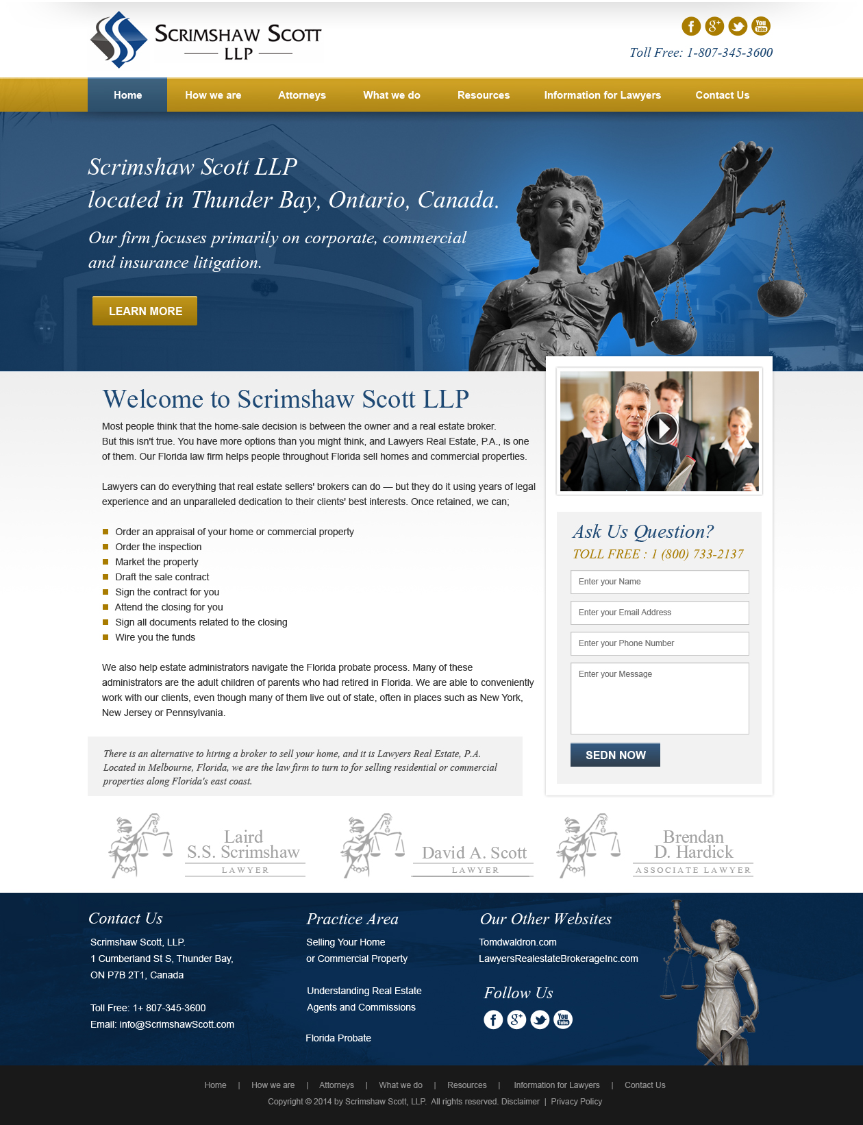 Web Page Design by Emad A Zyed - Entry No. 9 in the Web Page Design Contest Captivating Web Page Design for Scrimshaw Scott LLP.