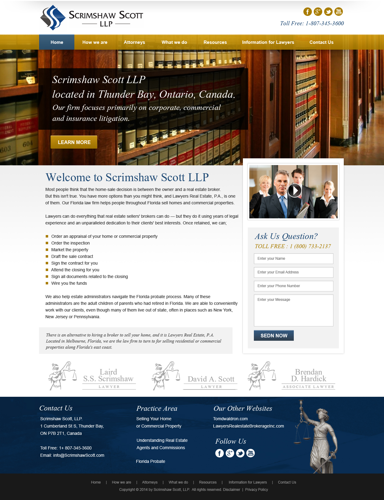 Web Page Design by Emad A Zyed - Entry No. 10 in the Web Page Design Contest Captivating Web Page Design for Scrimshaw Scott LLP.