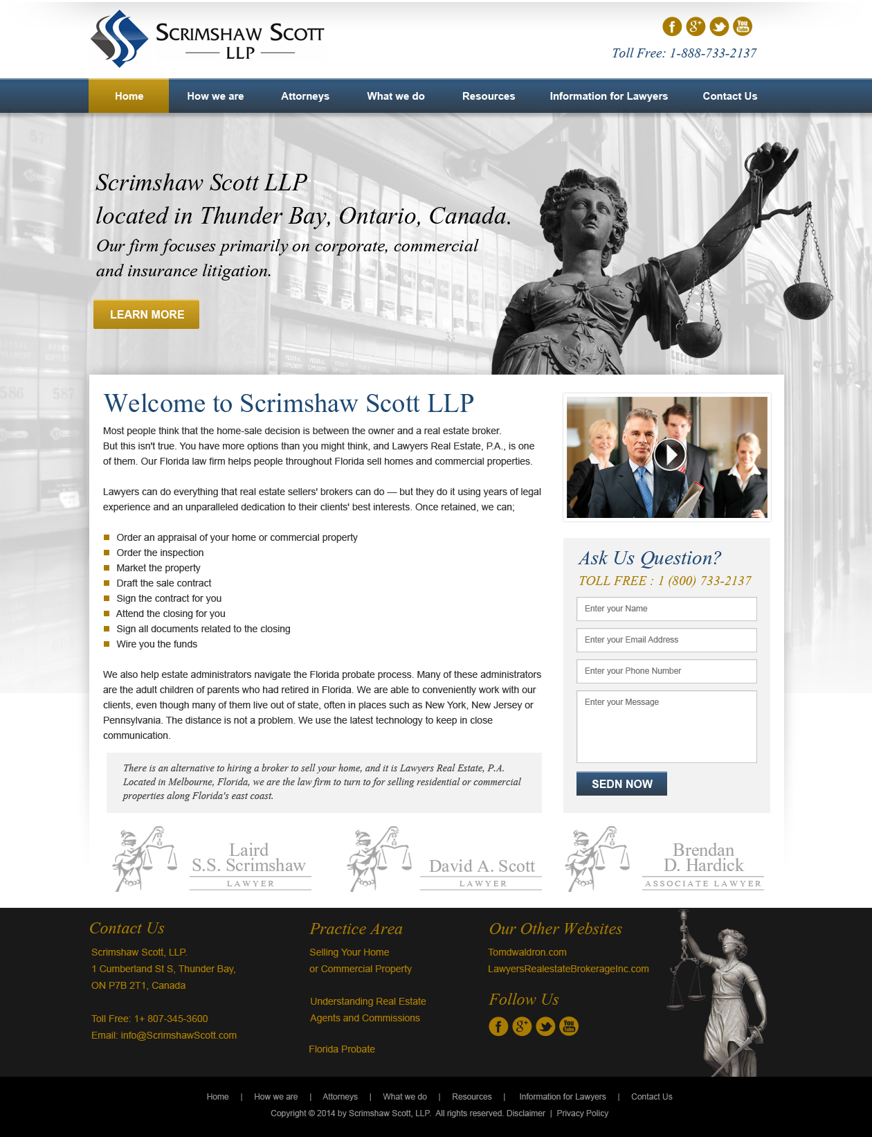 Web Page Design by Emad A Zyed - Entry No. 12 in the Web Page Design Contest Captivating Web Page Design for Scrimshaw Scott LLP.
