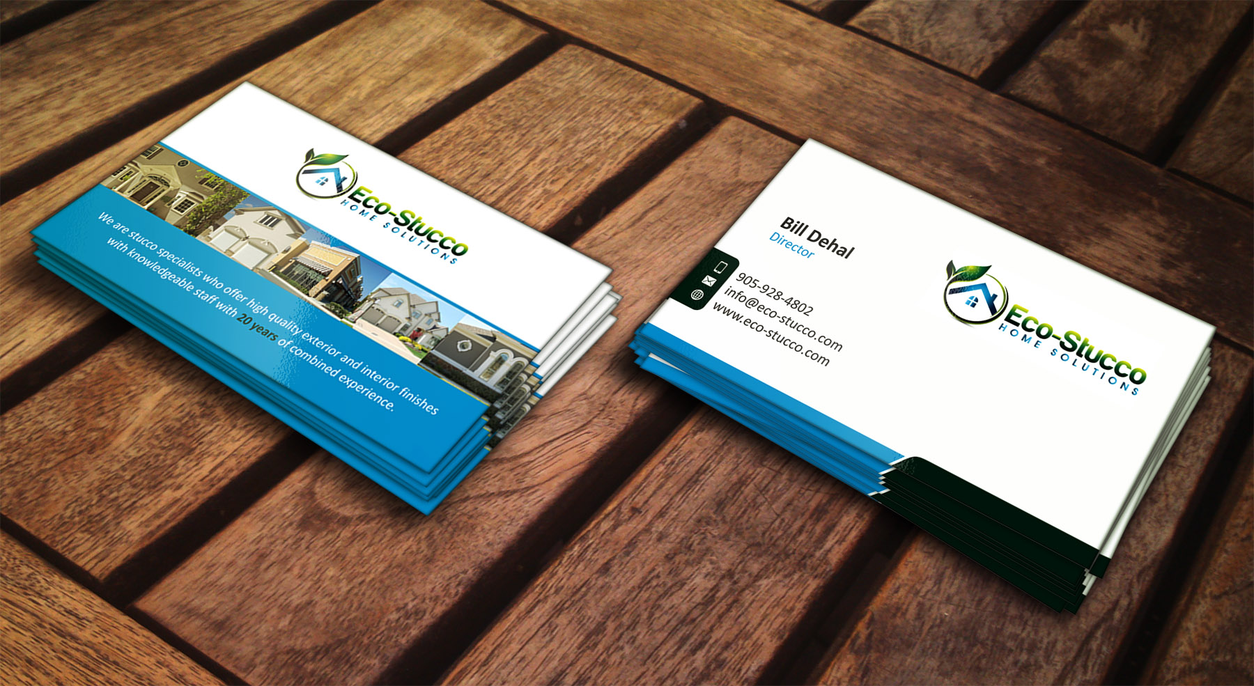 Business Card Design by Muhammad Aslam - Entry No. 24 in the Business Card Design Contest Inspiring Business Card Design for Eco-Stucco Home Solutions.