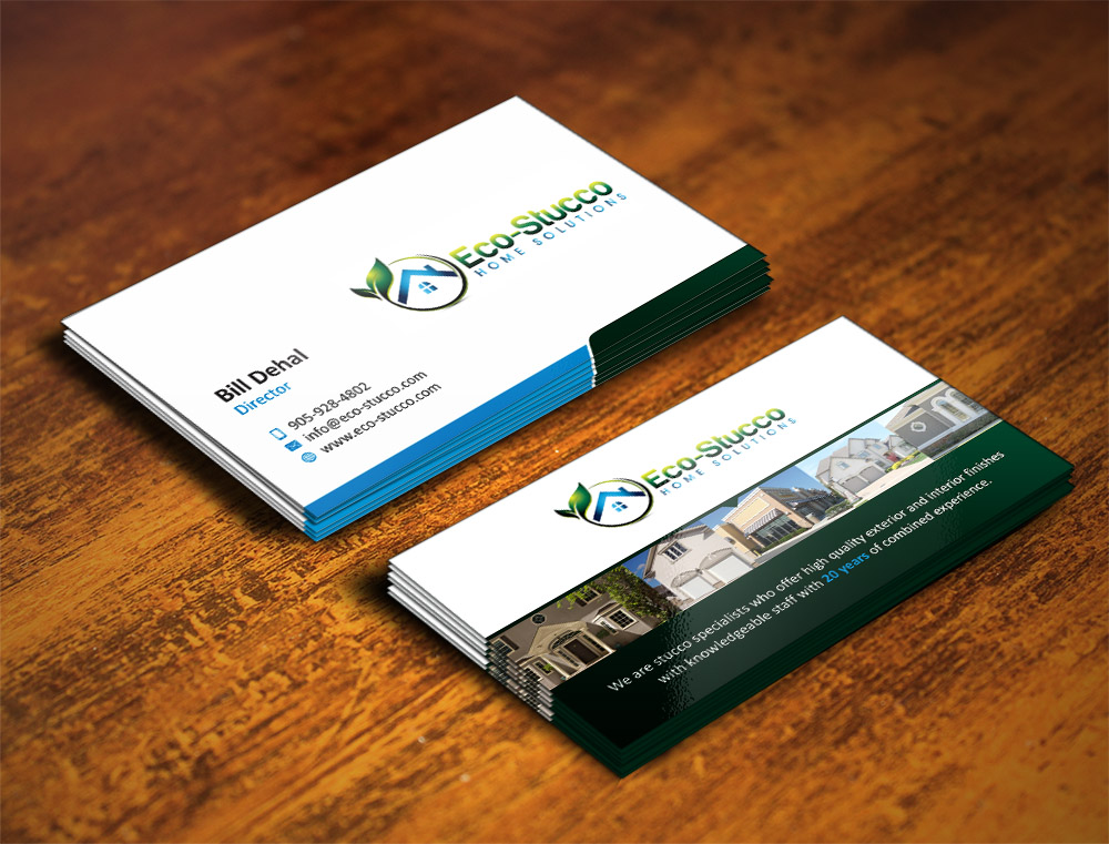 Business Card Design by Muhammad Aslam - Entry No. 27 in the Business Card Design Contest Inspiring Business Card Design for Eco-Stucco Home Solutions.
