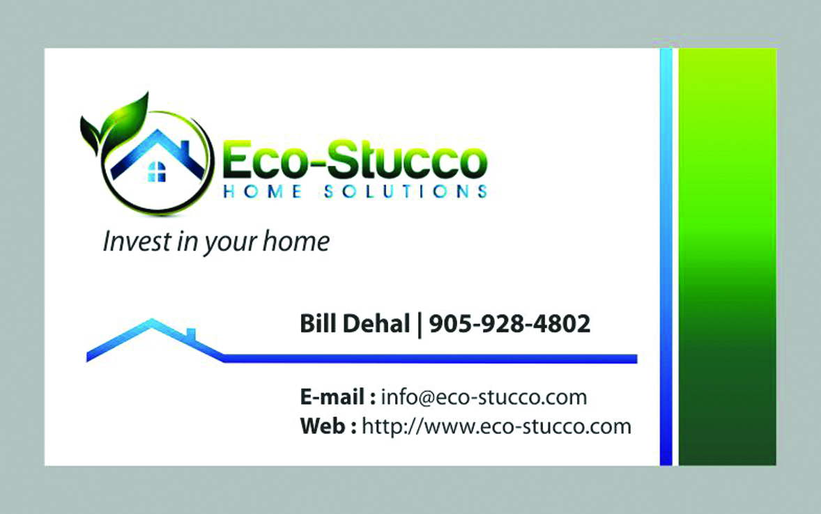 Business Card Design by Mahida Kirit Chandrasinh - Entry No. 31 in the Business Card Design Contest Inspiring Business Card Design for Eco-Stucco Home Solutions.