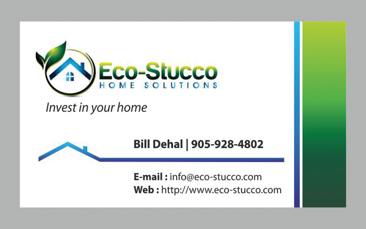 Business Card Design by Mahida Kirit Chandrasinh - Entry No. 32 in the Business Card Design Contest Inspiring Business Card Design for Eco-Stucco Home Solutions.