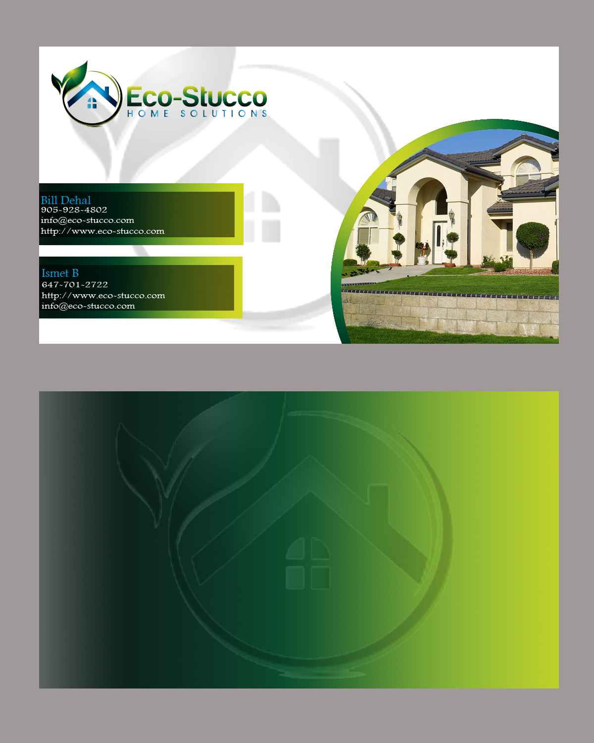 Business Card Design by Aljohn Mana-ay - Entry No. 57 in the Business Card Design Contest Inspiring Business Card Design for Eco-Stucco Home Solutions.