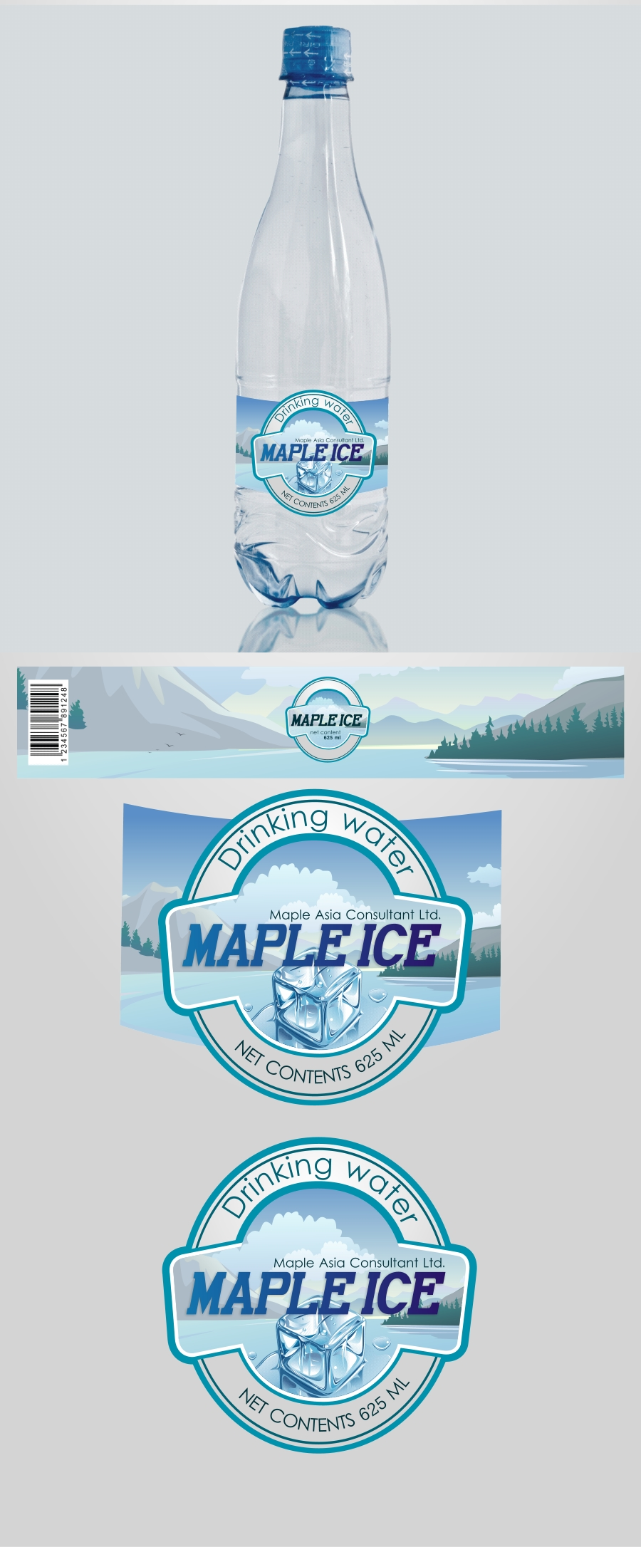 Packaging Design by Private User - Entry No. 15 in the Packaging Design Contest Unique Label/Packaging Design Wanted for Premium Bottled Water (Maple Ice).
