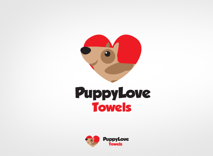 Logo Design by Jan Chua - Entry No. 59 in the Logo Design Contest Artistic Logo Design for Puppy Love Towels.