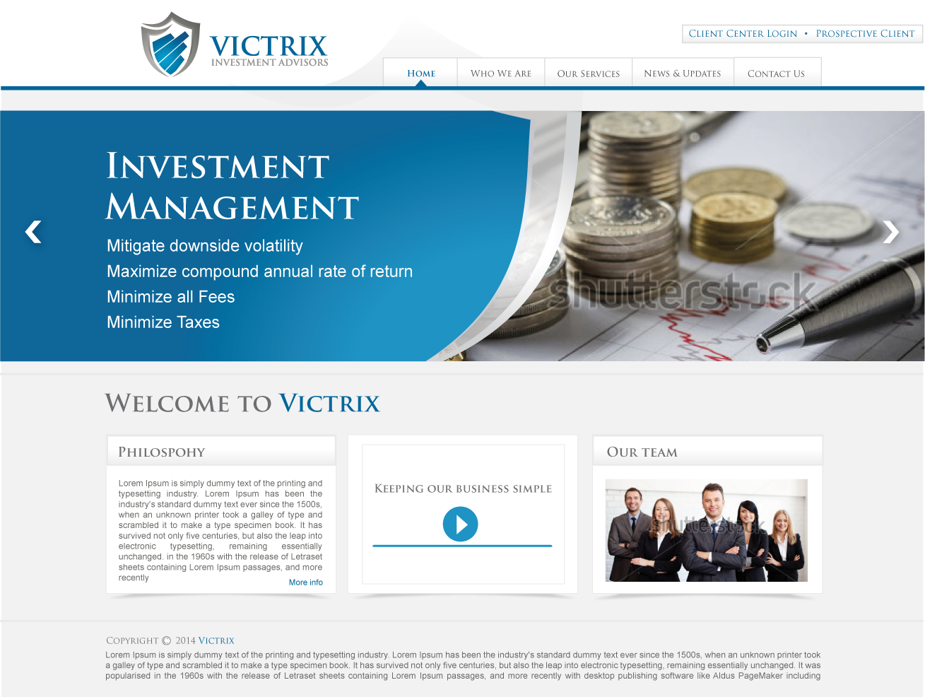 Web Page Design by lovag - Entry No. 8 in the Web Page Design Contest Captivating Web Page Design for Victrix Investment Advisors.