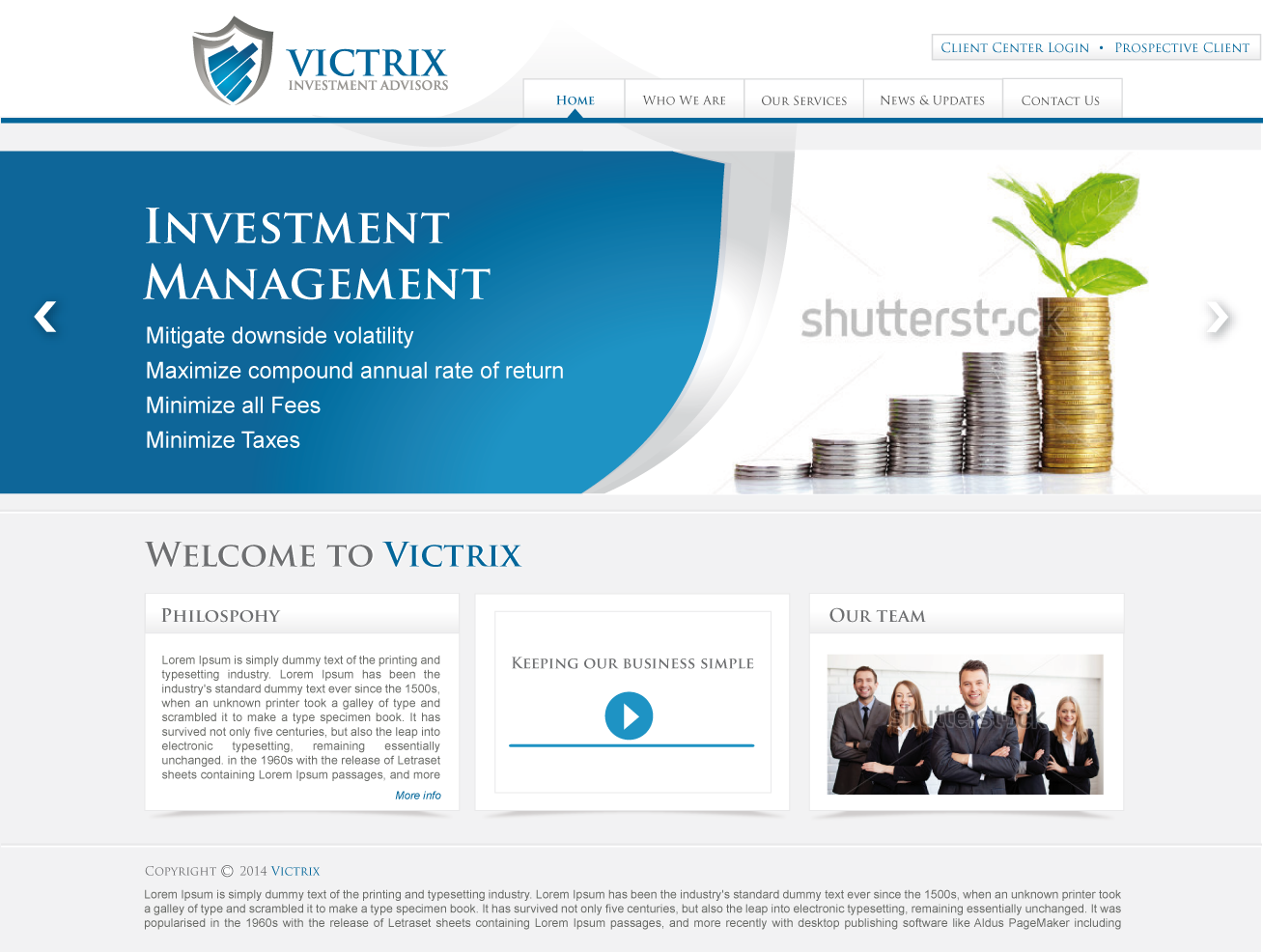 Web Page Design by lovag - Entry No. 9 in the Web Page Design Contest Captivating Web Page Design for Victrix Investment Advisors.
