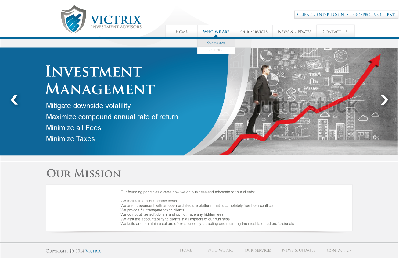 Web Page Design by lovag - Entry No. 19 in the Web Page Design Contest Captivating Web Page Design for Victrix Investment Advisors.